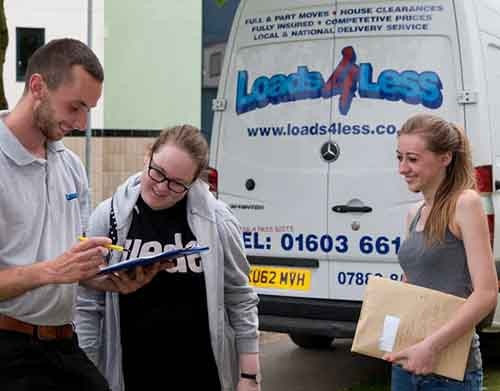 student moves at Norwich man with a van